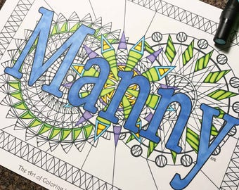 name coloring page from an original drawing manny