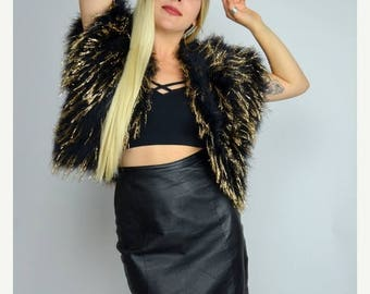 SALE Golden Shag   1970s Vintage Black Ostrich Feather Shrug Metallic Bolero 70s Shaggy Top