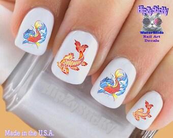 Fish nail stickers etsy animals nail decals koi fish 1 swimming colorful fish nail art set211 prinsesfo Image collections