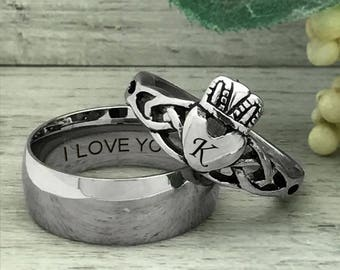 His and Her Wedding Ring Set, Personalized Engrave Stainless Steel Celtic Irish Claddagh Ring, Wedding Ring, Engagement Ring-SSR553