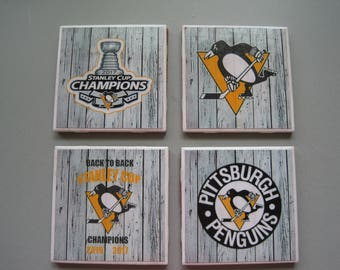 Pittsburgh Penguins Themed Ceramic Tile Coasters - Set of 4