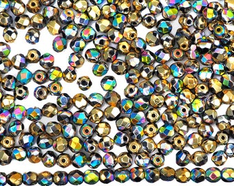 600 Jet California Blooming Meadow coated, 3mm, Preciosa Czech Fire Polished Round Faceted Glass Beads, Czech Glass Fire Polish Beads, loose