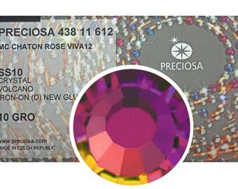 HOTFIX, 1440 Preciosa Genuine Czech Crystals 10ss Crystal Volcano coated Viva12 Iron-on ss10, 2.8mm MC Chaton Rose Viva 12 facet Rhinestones