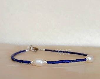 Handmade Lapis Lazul Seed Bead Bracelet with Freshwater Pearl Thin Bracelet for mix and match Made to Order