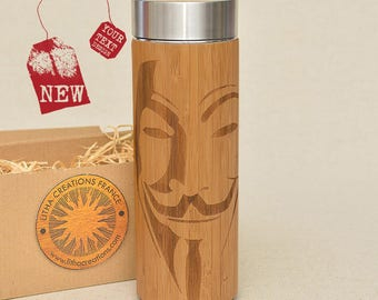 Customized Thermos Engraved Bamboo Wood VENDETTA Stainless Steel with Screw Lid