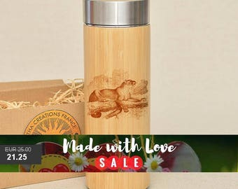 Original Bamboo Thermos Wooden Flask 380 ml Engraved Wood PANTHERA Stainless Steel with Screw Lid
