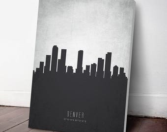 Denver Skyline Canvas Print, Denver Art, Denver Cityscape, Denver Art Print, Home Decor, Gift Idea, USCODE19C