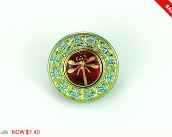 ON SALE Vintage Blue Green Red 24K Gold Dragonfly Czech Glass Buttons Gold Blue Dragonfly Czech Glass Handmade Buttons 34mm (1 pc) 40V25