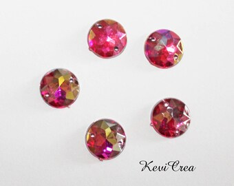 10 x rhinestone sewing fuschia AB 12 mm round