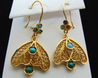Womens Vintage Estate 18K Yellow Gold Filigree Dangle Earrings, 7.2g E3331
