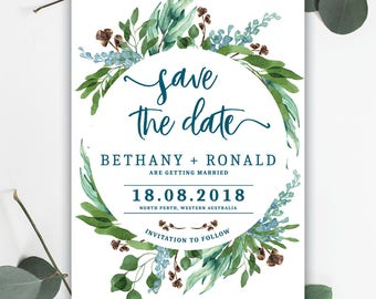 Beautiful Leafy Save the Date - PRINTED