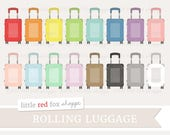 Suitcase Clipart, Luggage Clip Art, Rolling Luggage Clipart, Travel Clipart, Object Icon Cute Digital Graphic Design Small Commercial Use