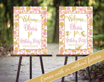 Birthday Party Welcome Sign Poster | Fairy Birthday | Pink and Gold Dots| Girl's Fairy Party | Personalized | PRINTABLE DIGITAL File