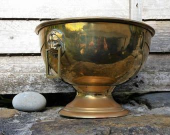 Vintage  Art Deco Lion Handle Brass Bowl