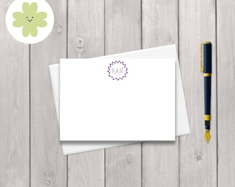 Personalised wreath and monogram note card stationery set featuring your initials and choice of colour