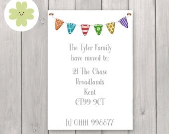 Bunting change of address cards, flags moving home announcements, Moving house address cards, change of address postcards - x24 or printable