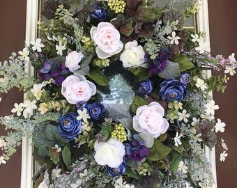 Summer Wreath, Elegant Wreath, Front Door Wreath, Spring Wreath