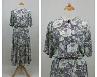 80s 90s vintage dress. LIZ CLAIBORNE Midi dress. Shirtwaist dress. Floral print dress. Black and white dress. Polka dots dress. Size M.