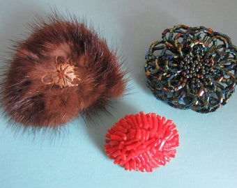 Lot of 3 Vintage Brooches - Mink, Faux Coral and Beaded
