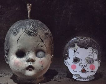 Creepy Baby Doll Head Candle and Pin - Horror Candles - Horror Decor
