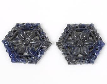 51.60ct Multi Sapphire 100% Natural Gemstone Hexagon Hand Carved Slice 24mm For Jewelry GC33/22