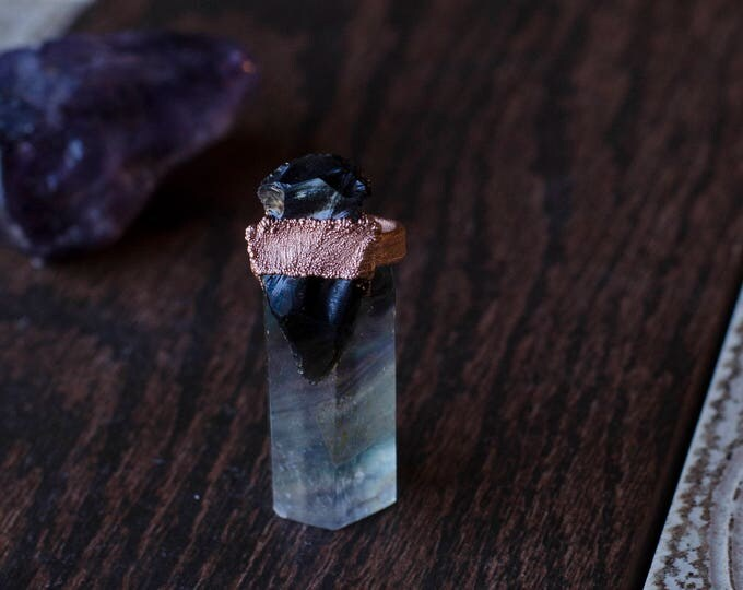 Black Obsidian Arrowhead and Copper Ring Size 6