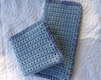 Colonial Blue Crochet Washcloth
