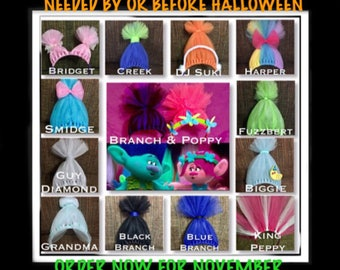Troll Headbands, Trolls Costume accessory, Poppy Hair, Poppy Headband Inspired by but in No way affiliated with any Trolls products