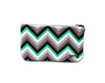 model medium clutch bag, black and green green chevrons