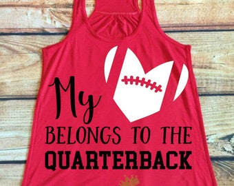 My Heart Belongs To The Quarterback Tank Top-Football Shirt-Football Mom-Cute Football Shirt-Football Clothing-Mom Clothes-Game Day Shirt