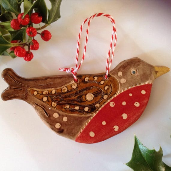 Handmade Ceramic Hanging Robin, Christmas ornament, decoration, Robin Redbreast, tree ornament