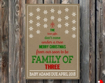 PRINTABLE Christmas Pregnancy Announcement Card–Christmas Card-Christmas Pregnancy Reveal Card-Christmas Baby Announcement-Rustic Card-PA32
