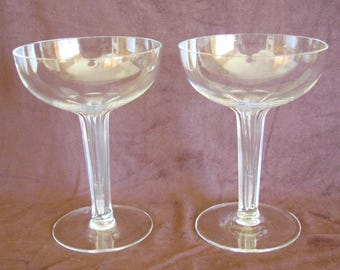 Set of 2 Crystal Coupe Champagne Glasses with Hollow Hexagon Stems, 2 Crystal Coupe Glasses with Hollow Stems