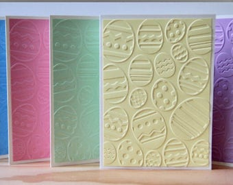 5 Embossed Easter Cards.  Handmade Easter Egg Greeting Cards.  Easter Invitations.  Easter Thank You Cards. Easter Basket Gift