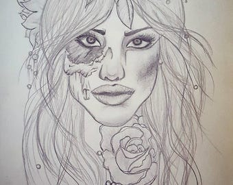 Pencil Drawing Of Girl Face On Scetch Paper