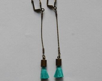 vintage brass and turquoise tassel earrings