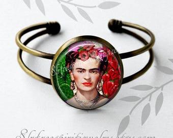 Frida Kahlo Cuff Bracelet Famous Artist, Cactus, Peppers, Digital Photo Art Jewelry, one inch drop Earrings, Women Artist, Frida gift