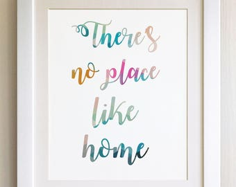 """QUOTE PRINT, There's no place like home, *UNFRAMED* 10""""x8"""", Modern Geometric Design"""