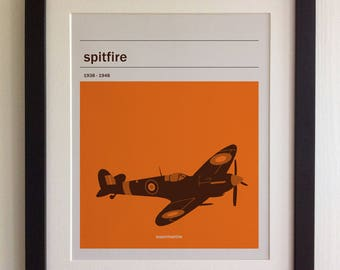 FRAMED Spitfire Print - Black/White Frame, Birthday, Anniversary, Father's Day, Christmas, Fab Picture Gift