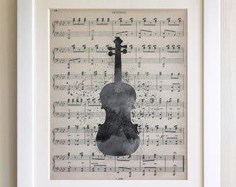 """FRAMED Violin Print, 12""""x10"""" Black or White Frame, Modern Art"""