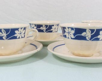 4 Art Deco cups and saucers, Badonviller, French vintage cups, French coffee set, blue flower design, 1920's, 2 sets available.