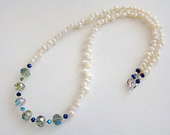Mermaid Necklace, Green Blue Crystal White Pearl Necklace, Blue Green Swarovski Crystal Freshwater Pearl Necklace