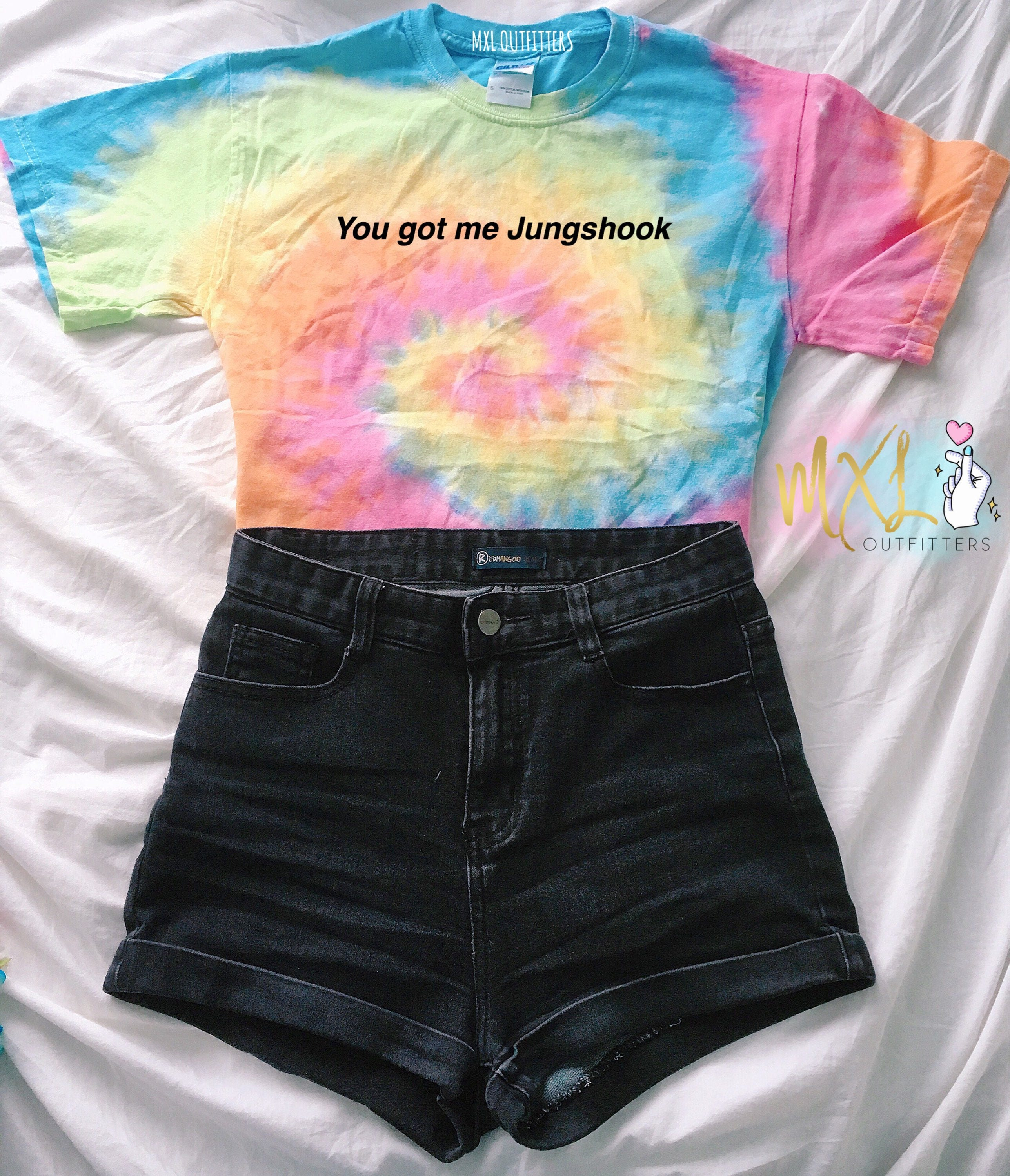 Tie dye bts jungshook t shirt design by maggie liu for How to wash tie dye shirt after dying
