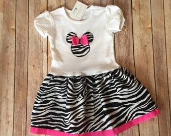 Zebra Minnie Mouse Dress, Pink Zebra Dress, Girl's Pink Minnie Dress, Little Girl Pink Minnie Dress