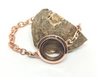 Floating bracelet for charms, rose gold