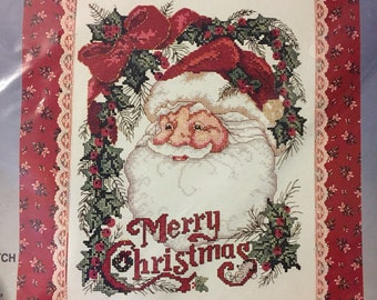"Bucilla ""Santa's Portrait"" Christmas Wall Hanging Counted Cross Stitch   Kit No. 82762"