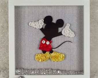 Mickey Mouse Button Art Frame- Unique Gift for any Disney Lover