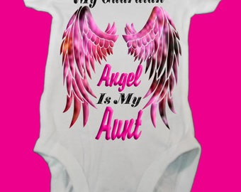 Personalized My Guardian Angel Is Baby Onsie/Guardian Aunt Onsie/Guardian Uncle Onsie/New baby gift/Baby shower gift/Gender Reveal/Customize