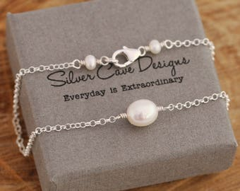 Beautiful Sterling Silver And White Freshwater Pearls Anklet, Pearls Anklet, Sterling Silver Ankle Bracelet, Summer Accessory, With Gift Box