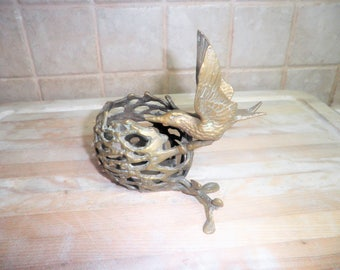 Vintage decorative brass 5 1/2 inch candle holder